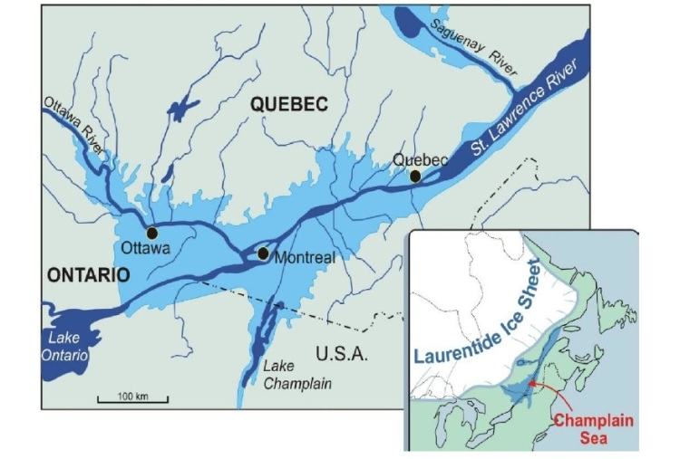 The ancient Champlain Sea, which very briefly extended all the way to the confluence of Lake Ontario and the St. Lawrence